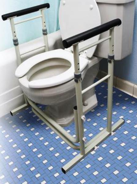 Essential Stand Alone Toilet Frame Height Adjustable Safety Rails With Support Base