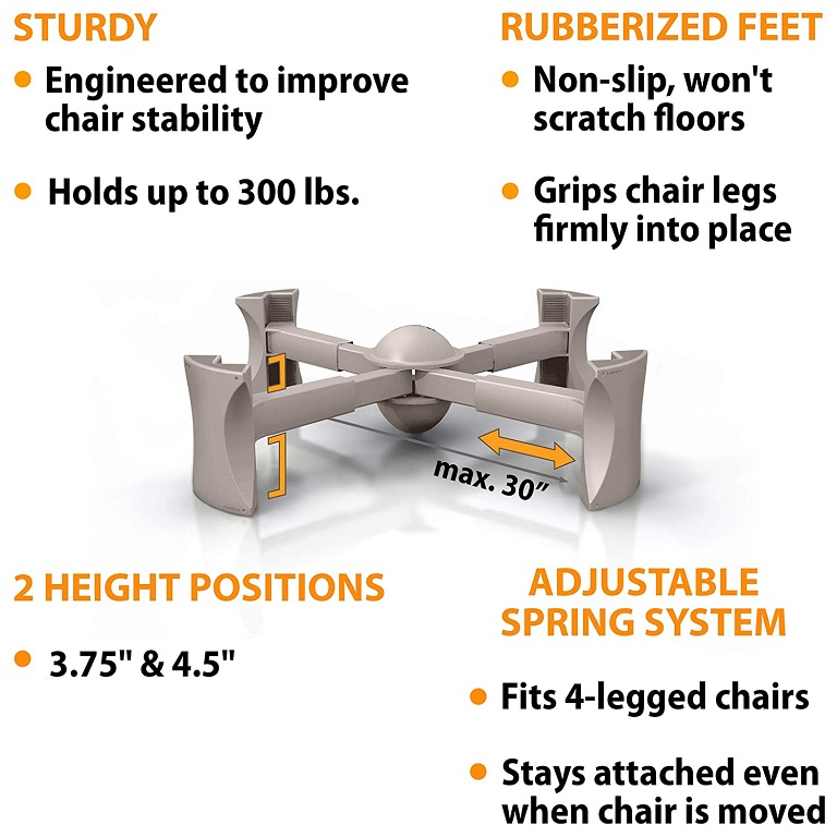 kaboost chair riser portable chair lift for 4 legged chairs. Black Bedroom Furniture Sets. Home Design Ideas