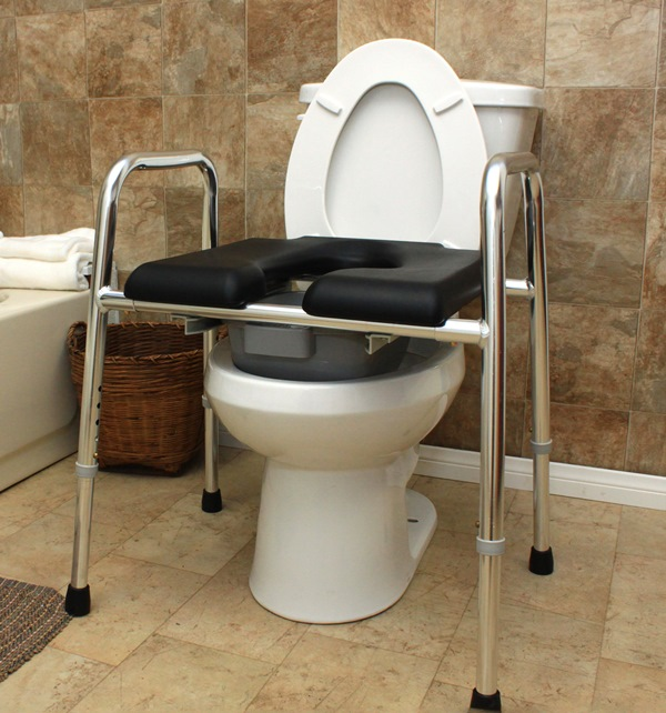 Padded Raised Toilet Seat Safety Frame: multi-function bathroom ...