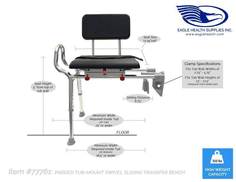 Snap N Save Tub Mount Sliding Transfer Bench With Padded