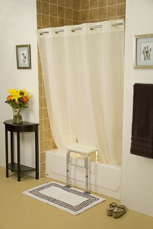 Simplicity Transfer Bench Shower Curtain :: keeps water inside tub