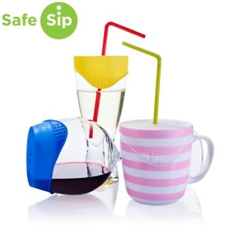 SafeSip Reusable Spill Proof Drink Covers Clear Pack of 4