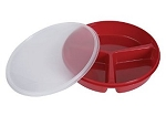 Divided Scoop Red Dish with Lid