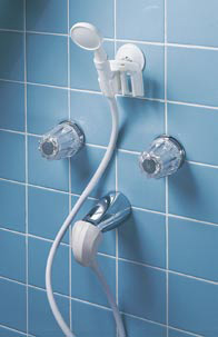shower attachment for bathtub faucet.  Hand Held Portable Shower converts tub spout to a shower