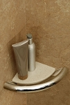 Invisia Corner Shower Shelf with Integrated Grab Bar