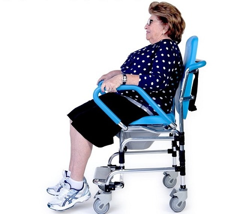 assist chair is a commode chair can be used as a bedside toilet over the toilet as a raised toilet seat or as a rolling shower chair