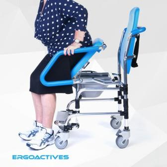 ErgoActive Mobile Commode Assist Chair rolling shower chair