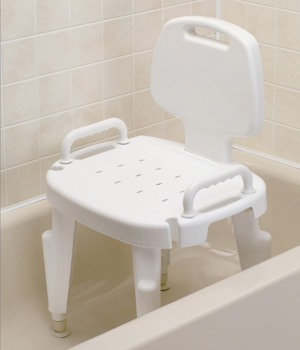 Bath Safe Adjustable Bath - Shower Seat with Removable Arms & Back