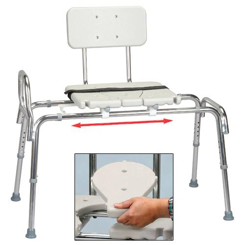 Snap-N-Save Sliding Transfer Bench with Molded Cut-Out Seat