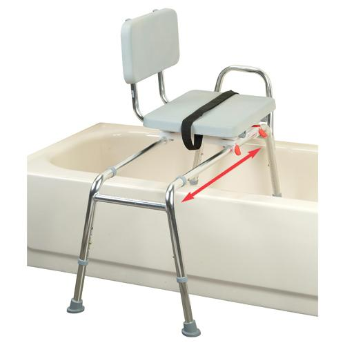 Sliding Transfer Bench with Padded Swivel Seat & Back - Discontinued