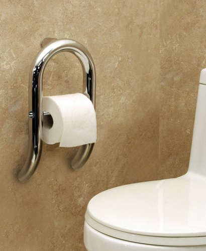 Invisia Toilet Roll Holder with Grab Bar