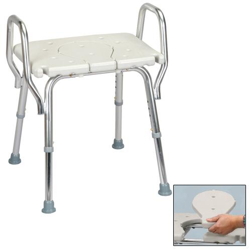 Shower Chair with Arms and Replaceable Cut Out Seat