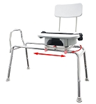 Snap-N-Save Sliding Transfer Bench with Cut-Out Swivel Seat
