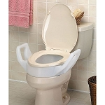 Bolt On Elongated Raised Toilet Seat with Arms