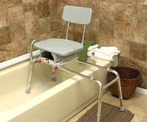 Snap-N-Save Extra Long Sliding Transfer Bench with Cut-Out Swivel Seat