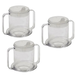 Independence Two Handle Clear Mugs with Lids 3 Pack