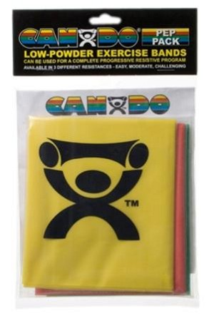 CanDo Low Powder Exercise Band Packs Light Resistance includes yellow, red, and green bands.